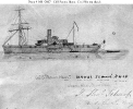 CSS Patrick Henry (1861-1865)        Photographically reproduced sketch of the ship as the Confederate     States Navy's school ship, with the James River Squadron, 1863-65.      The original is inscribed with the name of Midshipman John Th