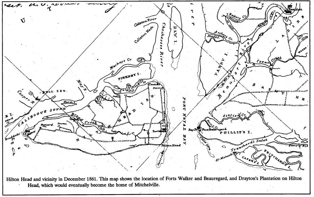 Hilton Head in December 1861 - Locations of Forts Walker and Beauregard, and Drayton's Plantation on Hilton Head, which would eventually become Mitchelville