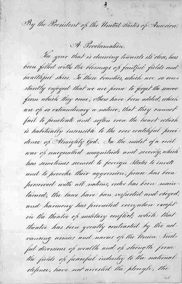 Lincoln's Thanksgiving Proclamation pg1