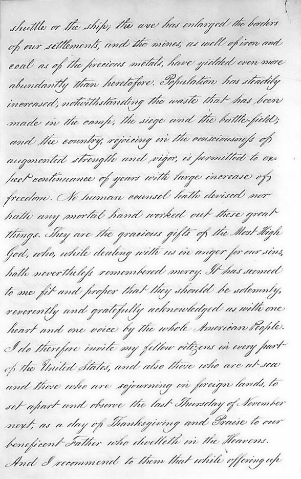 Lincoln's Thanksgiving Proclamation pg2