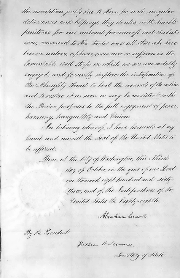 Lincoln's Thanksgiving Proclamation pg3