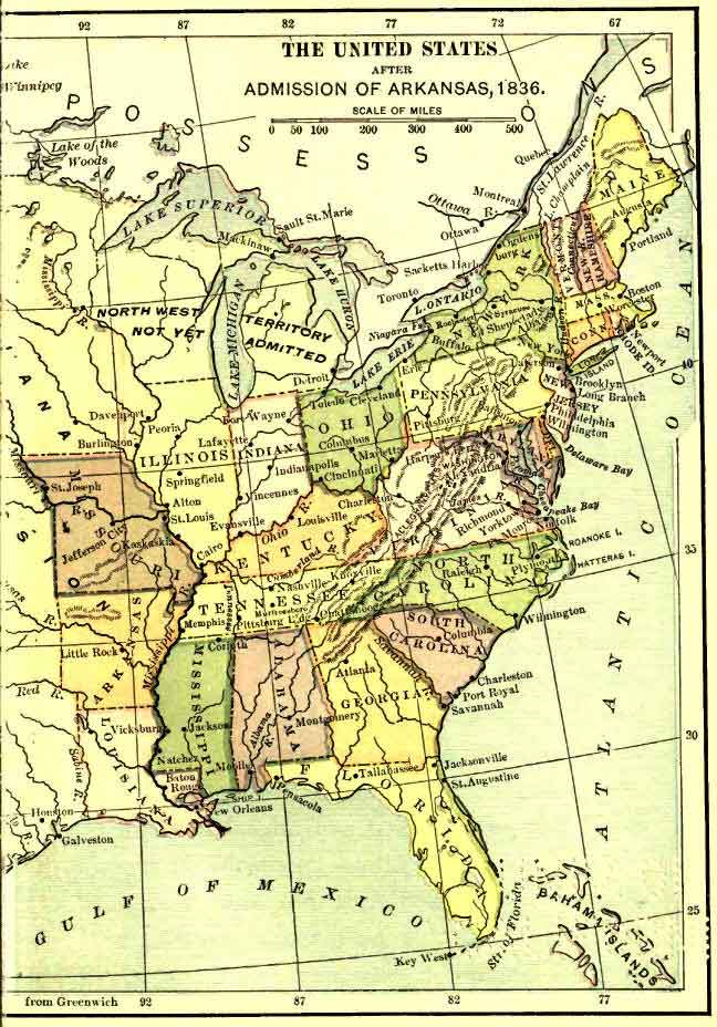 Eastern United States After The Admission Of Arkansas 1836