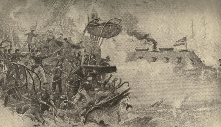 The Sinking of the Frigate Cumberland by the Merrimac in Hampton Roads, March 8, 1862
