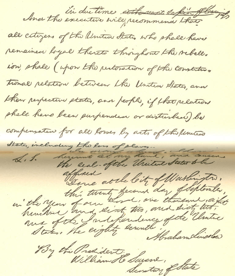 Facsimile of a portion of President Lincoln's draft of the Preliminary Proclamation of Emancipation, September. 1862